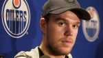 In this May 12, 2017, file photo, Edmonton Oilers' Connor McDavid speaks to the media during an NHL hockey news conference in Edmonton, Alberta. (Jason Franson/The Canadian Press via AP)