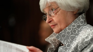 FILE - In this Thursday, July 13, 2017, file photo, Federal Reserve Chair Janet Yellen testifies on Capitol Hill in Washington, before the Senate Banking Committee. (AP Photo/Pablo Martinez Monsivais, File)