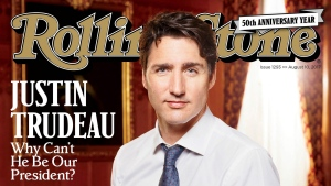 This image released by Rolling Stone shows Canadian Prime Minister Justin Trudeau on the cover of the August 10 issue. In the profile, writer Stephen Rodrick outlines stark contrasts between Trudeau's liberal views on health care, marijuana legalization and environmental policies and those voiced by U.S. President Donald Trump. (Rolling Stone via AP)