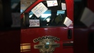 Heather Raines snapped a photo of hand-drawn signs taped to the window of a Saanich Fire pickup truck on a BC Ferries sailing from Tsawwassen to Swartz Bay Tuesday. July 25, 2017. (Twitter/@hjraines)