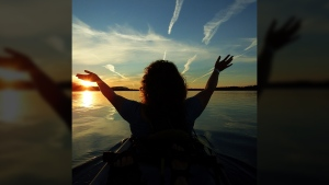 setting sun kayak