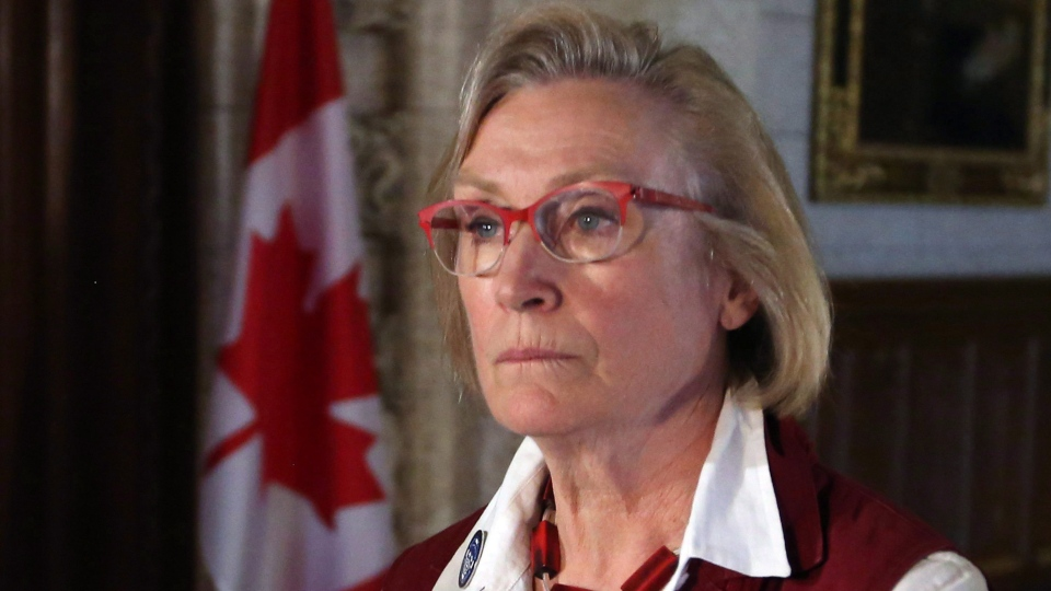 Carolyn Bennett, Minister of Indigenous and Northern Affairs, talks to reporters on Parliament Hill in Ottawa on Monday July 11, 2017. (Fred Chartrand/The Canadian Press)