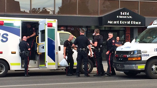 Members of the Calgary Police Service were assessed by EMS after a suspect discharged pepper spray in an apartment suite in the 800 block of 15 Ave SW