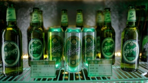 In this Wednesday, July 26, 2017, photo, samples of different types of Taedonggang beer are displayed in a refrigerator at the Taedonggang Brewery in Pyongyang, North Korea. Taedonggang beers are generally reputed to be world-class, which is a matter of national pride among many North Koreans. (AP Photo / Wong Maye-E)