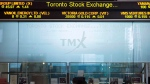 The Toronto Stock Exchange Broadcast Centre is shown in Toronto on Friday June 28, 2013. (Aaron Vincent Elkaim/The Canadian Press)