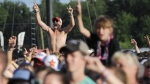 Fans react as Old Dominion performs during the Faster Horses Festival at Michigan International Speedway in Brooklyn on Sunday, July 23, 2017. The three day country music and camping festival ended Sunday with headliner Luke Bryan. (J. Scott Park/Jackson Citizen Patriot via AP)