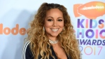 Mariah Carey arrives at the Kids' Choice Awards at the Galen Center on March 11, 2017, in Los Angeles. (Jordan Strauss/Invision/AP)