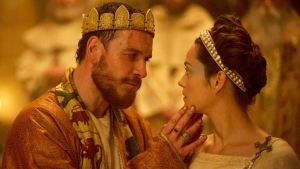 """This photo provided by The Weinstein Company shows, Michael Fassbender, left, as Macbeth, and Marion Cotillard as Lady Macbeth, in a scene from the film, """"Macbeth."""" (Jonathan Olley/The Weinstein Company via AP)"""