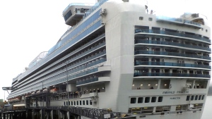 The Emerald Princess cruise ship is docked in Juneau, Alaska, Wednesday, July 26, 2017. (AP / Becky Bohrer)