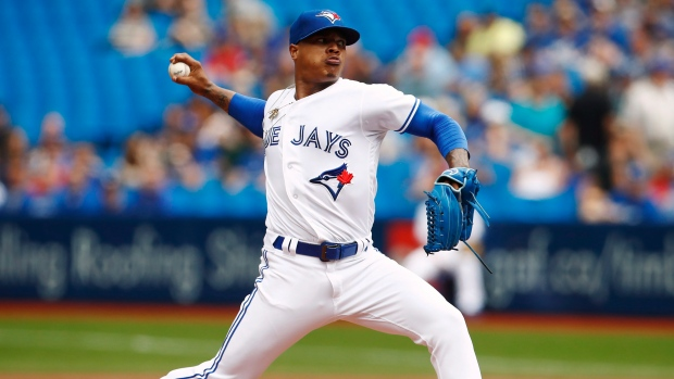 Toronto Blue Jays starting pitcher Marcus Stroman (6) throws against the Oakland Athletics during first inning American League MLB baseball action in Toronto on  July 27, 2017. (Mark Blinch/The Canadian Press)