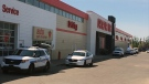 There was a heavy police presence at the Canadian Tire in east Regina on Thursday afternoon. (WAYNE MANTYKA/CTV REGINA)