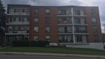 A death investigation brought Waterloo Regional Police officers to an apartment building on Hoffman Street in Kitchener on Thursday, July 27, 2017. (Krista Simpson / CTV Kitchener)
