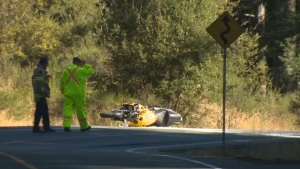 Police were called to Millstream Road near Stewart Mountain Road in Highlands at about 7:30 a.m. Thursday for a report of a two-vehicle collision between an SUV and motorcycle. July 27, 2017. (CTV Vancouver Island)