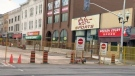 Construction work blocks off part of King Street in uptown Waterloo on Thursday, July 27, 2017.