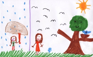 Weather art by Indira, age 9, from Laura Secord Elementary School.