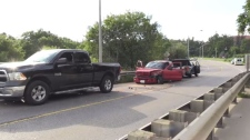 Regional police say two vehicles and an ambulance were involved in a crash in Kitchener Thursday afternoon.