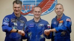 NASA astronaut Randy Bresnik, cosmonaut Sergey Ryazanskiy and the European Space Agency's Paolo Nespoli.