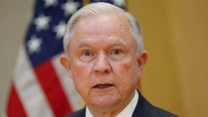 U.S. Attorney General Jeff Sessions speaks during a meeting with El Salvador Attorney General Douglas Melendez Ruiz in San Salvador, El Salvador, Thursday, July 27, 2017. (AP Photo/Pablo Martinez Monsivais)