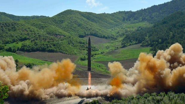 Launch of a Hwasong-14 intercontinental ballistic missile, ICBM, in North Korea's northwest, on July 4, 2017. (Korean Central News Agency/Korea News Service via AP, File)