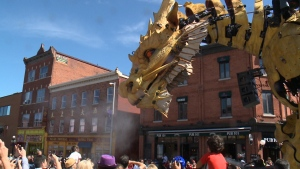 Long Ma, the dragon-horse, roams the streets of the ByWard Market on Friday, July 28, 2017. (CTV Ottawa)