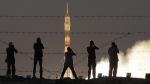 Soyuz-FG rocket booster with Soyuz MS-05 space ship blasts off at the Russian leased Baikonur cosmodrome, Kazakhstan, on July 28, 2017. (Dmitri Lovetsky / AP)