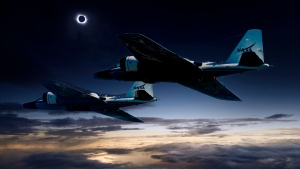 This photo illustration shows two of NASA's WB-57F research aircraft on their way to track the total solar eclipse. (NASA/Faroe Islands/SwRI)