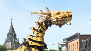 Long Ma, the Dragon-Horse roaming the streets of Ottawa's ByWard Market on Friday, July 28, 2017.  La Machine is a four-day urban theatre performance taking from July 27 - July 30 as part of Ottawa 2017 celebrations. (CTV Ottawa)