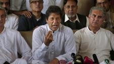 Imran Khan, centre, in Islamabad
