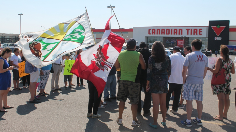 Peaceful protesters gathered in response to a Facebook Live video of an Indigenous man being kicked out of the Canadian Tire store on Wednesday, July 26, 2017.