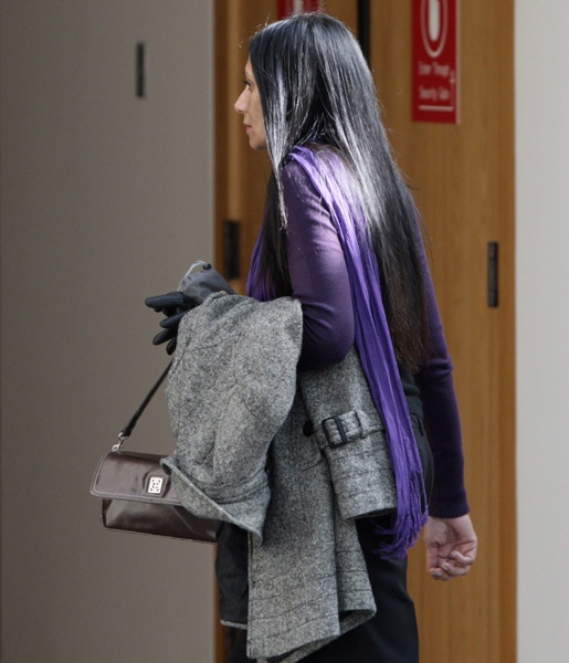 Eileen Mohan, mother of murder victim Christopher Mohan, leaves court after Dennis Karbovanec was sentenced in Vancouver, B.C., on Thursday April 9, 2009. (CP/Darryl Dyck)