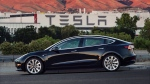 This undated image provided by Tesla Motors shows the Tesla Model 3 sedan. (Courtesy of Tesla Motors via AP)