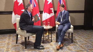 Manitoba Premier Brian Pallister and Prime Minister Justin Trudeau meet in Winnipeg, Manitoba, on July 29, 2017. (CTV Winnipeg)