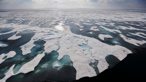 Sea ice melts on the Franklin Strait along the Northwest Passage in the Canadian Arctic Archipelago, Saturday, July 22, 2017. (AP Photo/David Goldman)