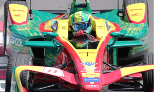 Lucas Di Grassi, of Brazil, drives during the quallifying session on his way to winning pole position at the Montreal Formula ePrix electric car race, in Montreal. (Tom Boland/The Canadian Press)