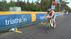 Greg Shimiku suffered a concussion after a head on crash with a van but has not let that stop him from competing in triathlons. (CTV Edmonton)