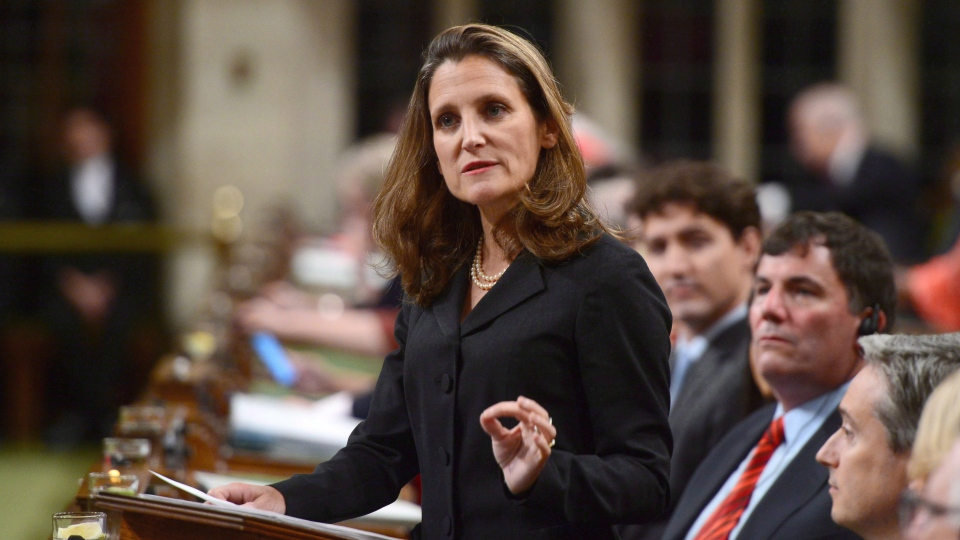 Minister of Foreign Affairs Chrystia Freeland said government will be reviewing whether the Saudi government used Canadian Terradyne vehicles during militant fighting. (THE CANADIAN PRESS/Sean Kilpatrick)