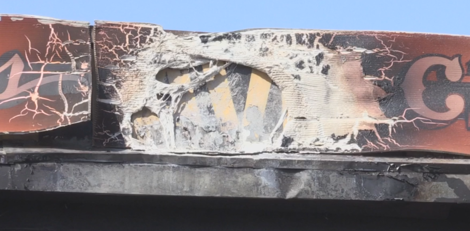 A look at some of the visible damage to the exterior of the building.