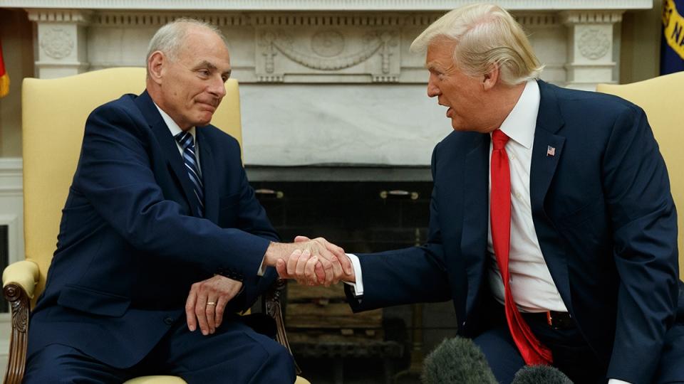 U.S. President Donald Trump talks with new White House Chief of Staff John Kelly after he was privately sworn in during a ceremony in the Oval Office with President Donald Trump, Monday, July 31, 2017, in Washington. (AP / Evan Vucci)