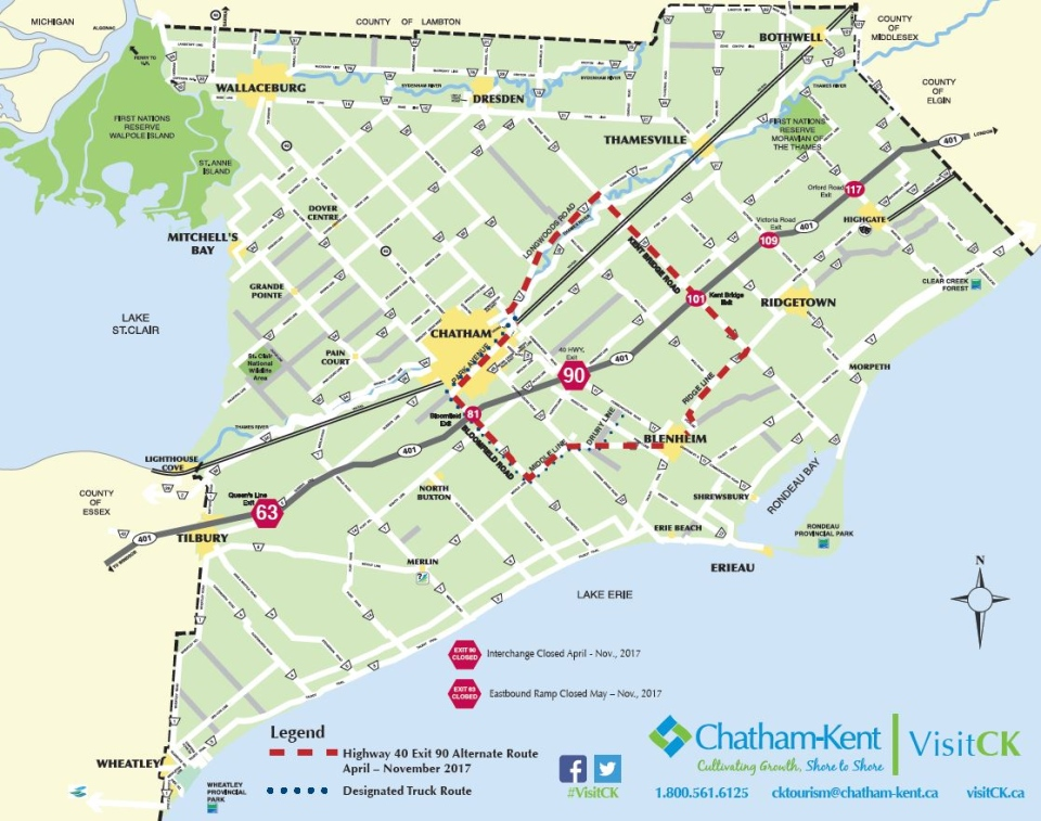 Map 401.Tourism Office Offers Way To Avoid Construction Crashes On 401