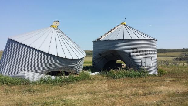 Grain bins damaged near Indian Head