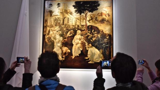 da Vinci painting at Uffizi museum in Florence