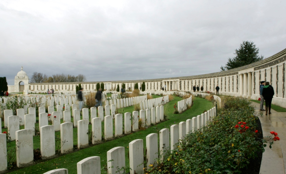 Visitors pay their respects at the Tyne Cot cemetery in Passchendaele, Belgium, Saturday Nov. 10, 2007.  (AP Photo/Virginia Mayo)