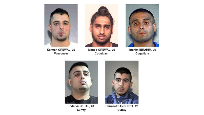 Surrey RCMP identified these five men as the intended victims in a recent spate of shootings. Police say they are not cooperating with the investigation, and are worried they might be the targets of continued violence. (Surrey RCMP)