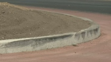 Balgonie overpass roundabout tire marks
