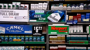 In this Friday, July 17, 2015 file photo, cigarettes are on display at a Smoker Friendly shop in Pittsburgh. (Gene J. Puskar/AP)