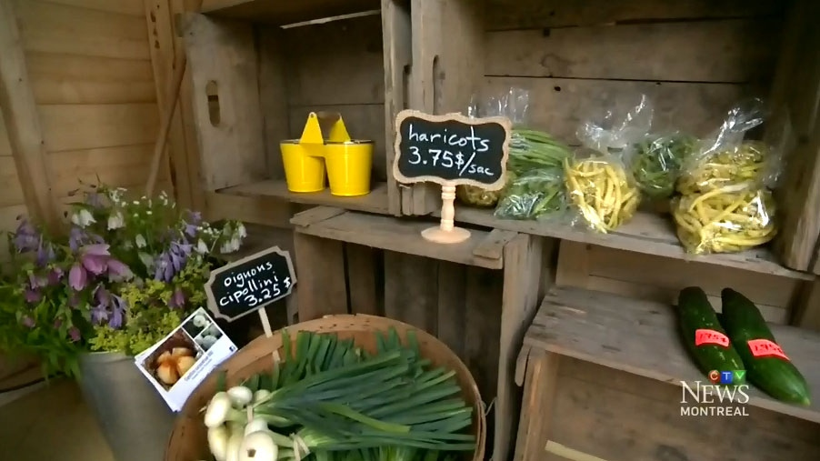 Farm fresh food sold by Quebec family