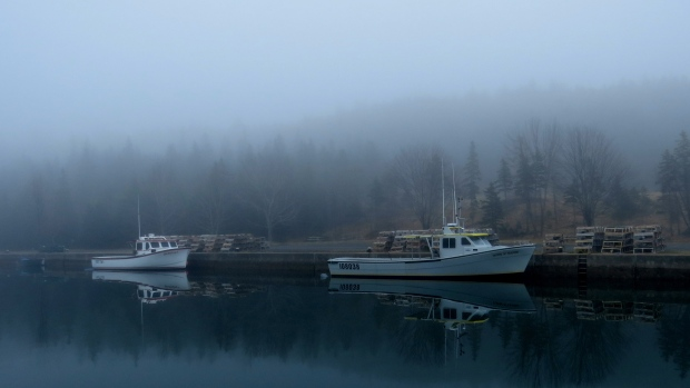 Fog on the water - photo taken by Karen Burke of Whiteside, Richmond County NS