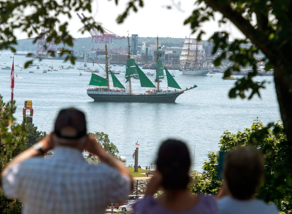 The German tall ship Alexander Von Humboldt II participates in a parade of sails as part of Rendezvous 2017 in Halifax on Tuesday, Aug. 1, 2017. (Andrew Vaughan / THE CANADIAN PRESS)
