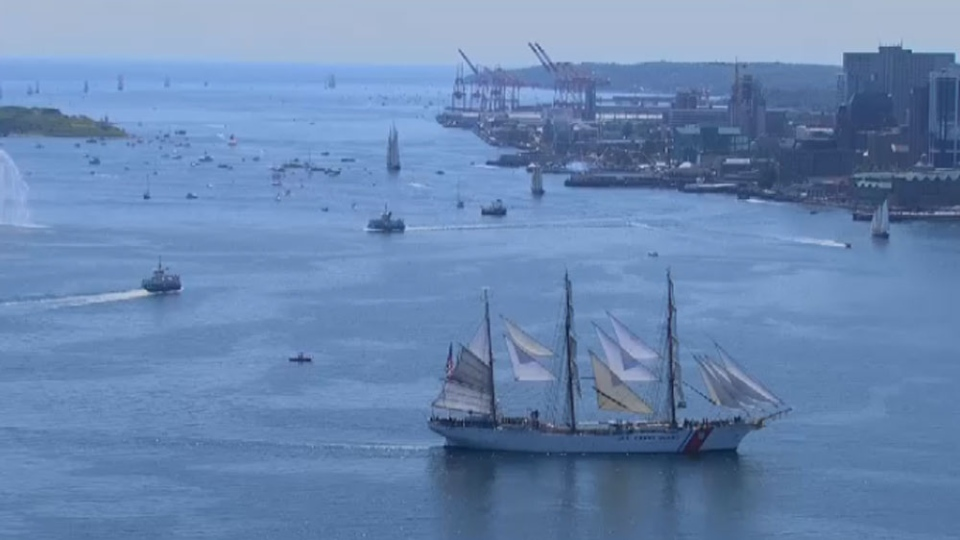 Tall ships participate in a parade of sails as part of Rendezvous 2017 in Halifax on Tuesday, Aug. 1, 2017. (CTV Atlantic)