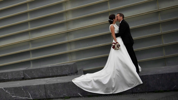 A bride and groom in Spain